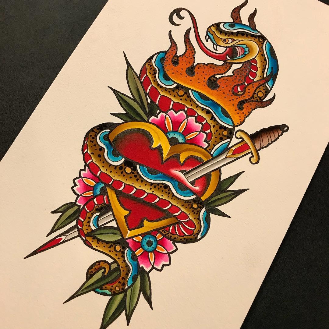 咸先生oldschool蛇匕首花纹身手稿